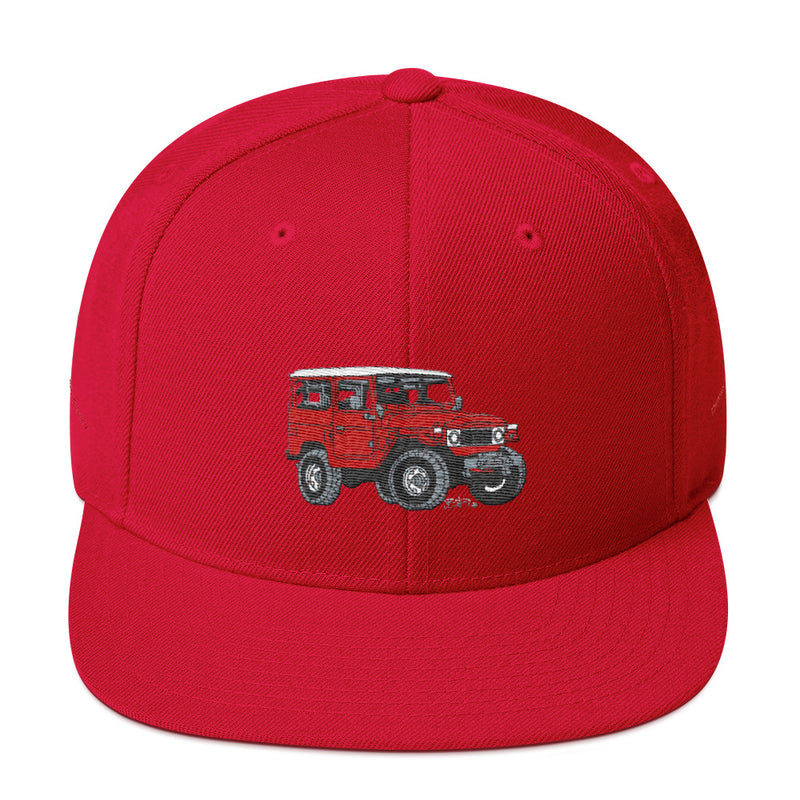 FJ40 Premium Embroidered snapback hat by Reefmonkey artist Brody Plourde (Red Version)