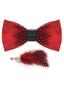 Red & Black Polka Dot Handmade Feather Bow Tie & Lapel Pin - Love Lee Boutique - Sydney Australia