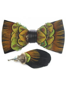 Gold, Green & Black Handmade Feather Bow Tie & Lapel Pin - Love Lee Boutique - Sydney Australia