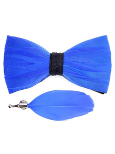 Blue Feather Bow Tie & Lapel Pin - Love Lee Boutique - Sydney Australia