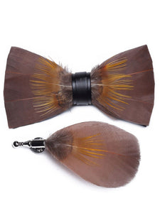 Chocolate Brown, Gold & Tan Handmade Feather Bow Tie & Lapel Pin - Love Lee Boutique - Sydney Australia