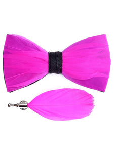Electric Pink Handmade Feather Bow Tie & Lapel Pin - Love Lee Boutique - Sydney Australia