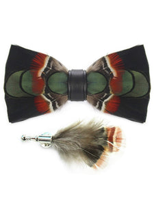 Black, Green, Red & Brown Handmade Feather Bow Tie & Lapel Pin - Love Lee Boutique - Sydney Australia