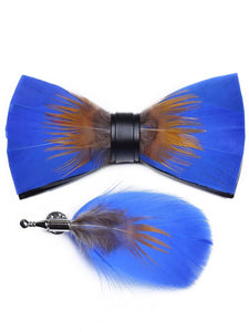 Electric Blue & Tan Handmade Feather Bow Tie & Lapel Pin - Love Lee Boutique - Sydney Australia