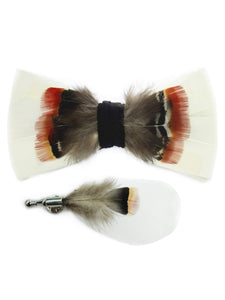White, Red & Brown Handmade Feather Bow Tie & Lapel Pin - Love Lee Boutique - Sydney Australia