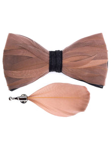 Hues of Taupe Handmade Feather Bow Tie & Lapel Pin - Love Lee Boutique - Sydney Australia