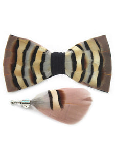 Brown, Tan, Cream & Taupe Handmade Feather Bow Tie & Lapel Pin - Love Lee Boutique - Sydney Australia