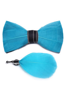 Aqua Blue Handmade Feather Bow Tie & Lapel Pin - Love Lee Boutique - Sydney Australia