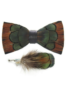 Tan, Green & Black Handmade Feather Bow Tie & Lapel Pin - Love Lee Boutique - Sydney Australia