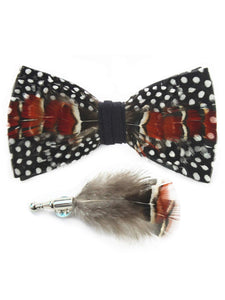 Black & White Polka Dot, Red, Brown & Tan Handmade Feather Bow Tie & Lapel Pin - Love Lee Boutique - Sydney Australia