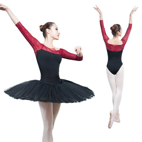 3/4 Long Sleeve Lace Ballet Leotard