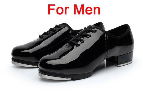 Brand New Patent Leather Clogging Tap Shoes For Men And Women Lace Up