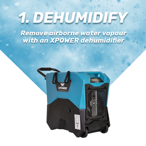 Learn Water Mitgation Step 1 Removing water vapour from the air with a dehumidifier