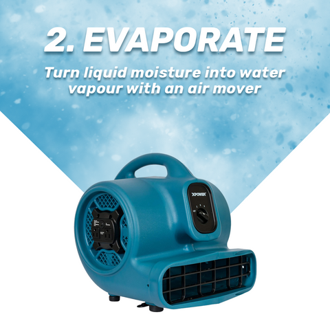 Learn DIY Water Mitigation Step 2 Evaporate with an Air Mover