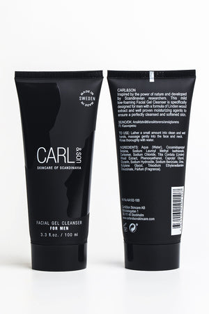 front and back of the packaging of facial cleanser