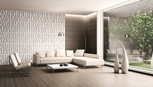WAVES by ARTE' FORMS - Designer Paintable 3d Wall Panels - Matte White