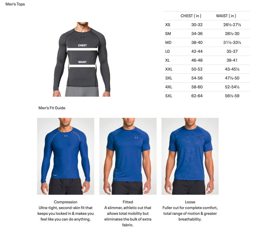 Under Armour Men's Tops Size And Fit Guide