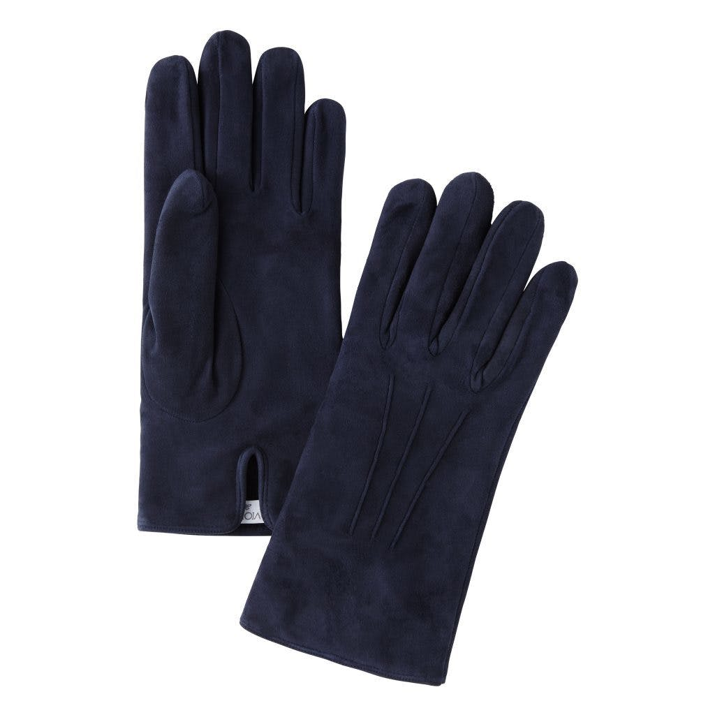 Merola Cashmere Lined Suede Gloves - Navy