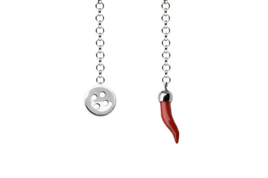 Barbarulo Napoli I Lapel Chain Sterling Silver - Button/Red Chilli