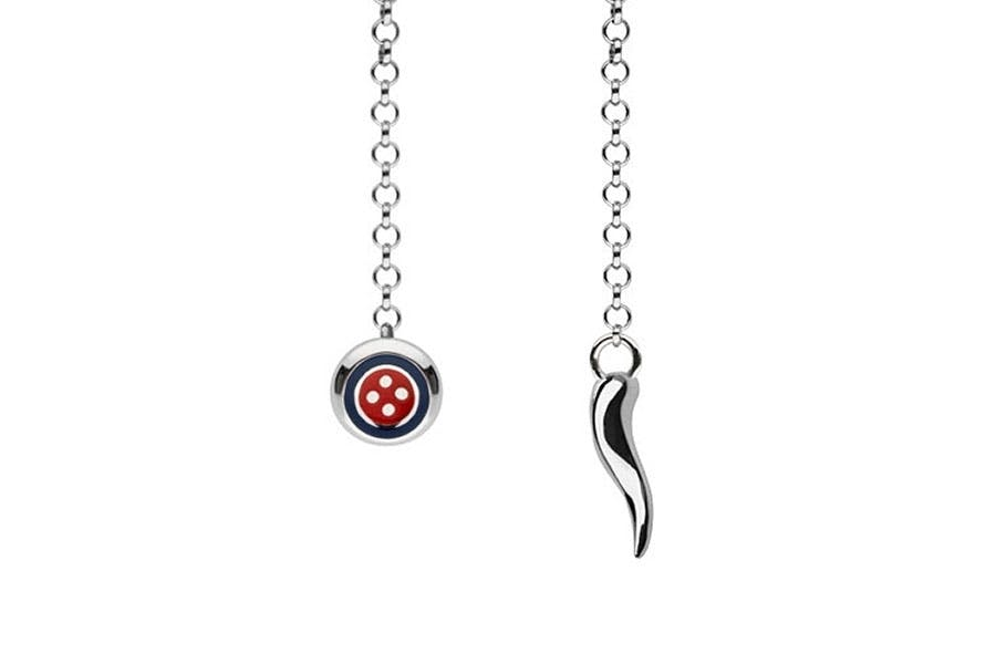 Barbarulo Napoli I Lapel Chain Sterling Silver - Button/Enamel Blue Red