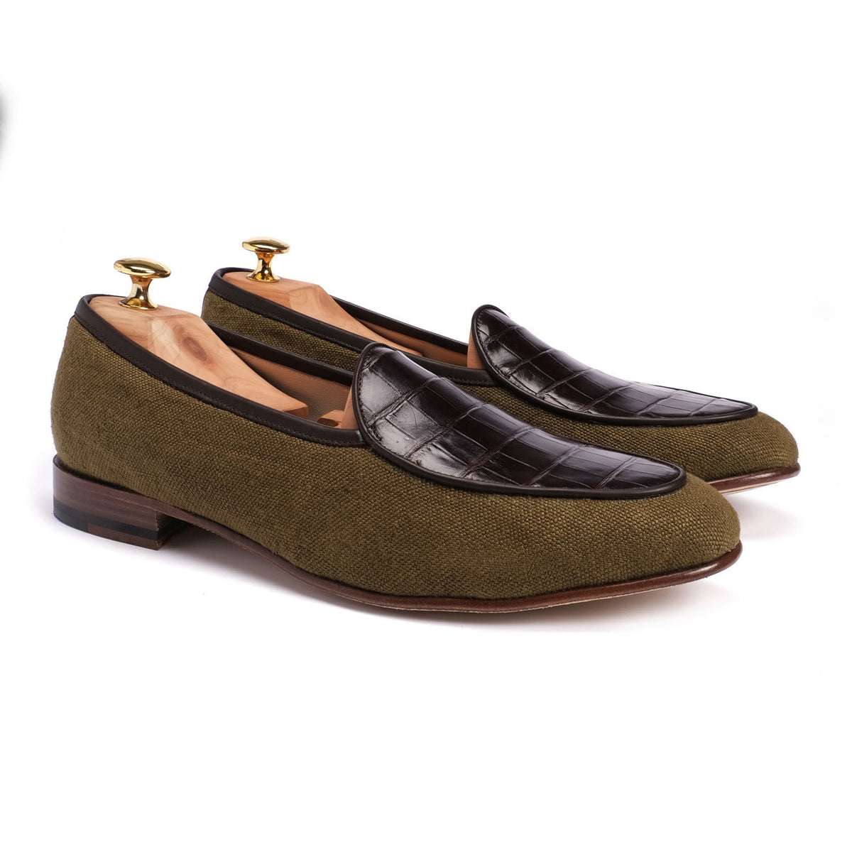 Belgian Loafers - Linen/Croco