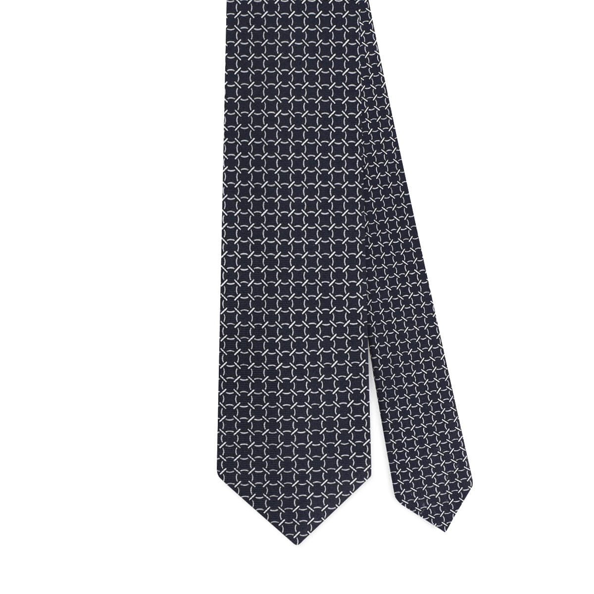 CHAIN PATTERN 6-FOLD SELFTIPPED SILK TIE – NAVY MIX
