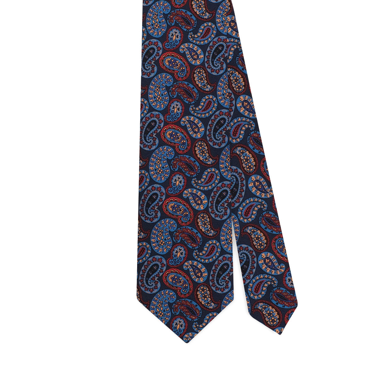 PAISLEY PATTERN HANDPRINTED SILK – BLUE MIX
