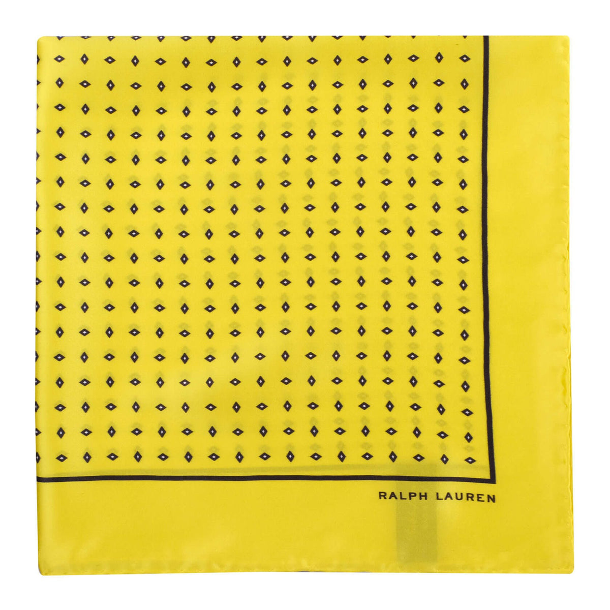 Ralph Lauren Diamond Pattern Foulard Pocket Square - Yellow