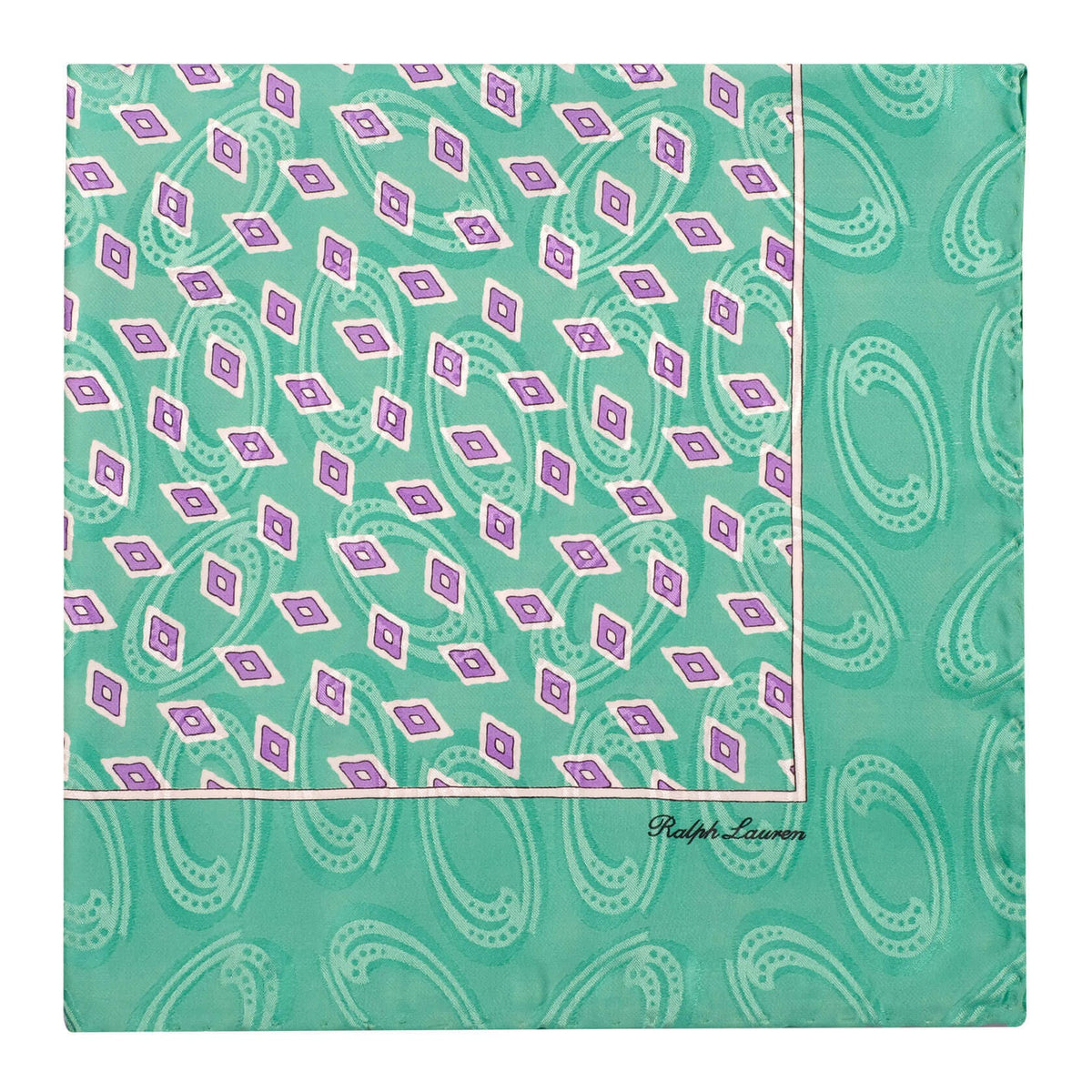 Ralph Lauren Diamond Pattern Foulard Pocket Square - Green