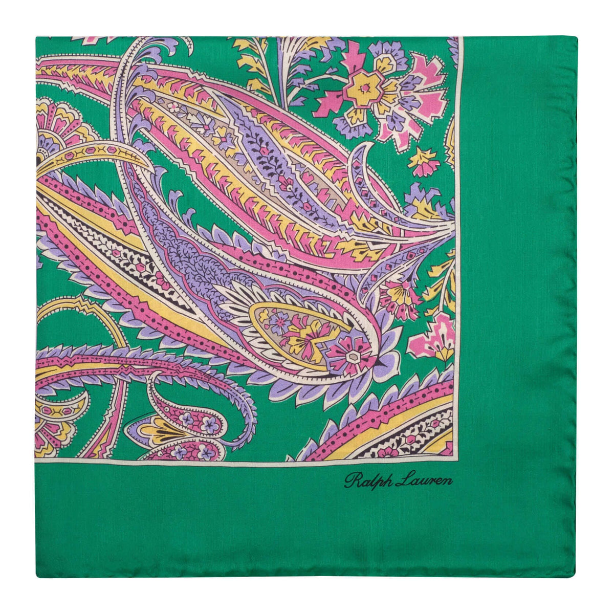 Ralph Lauren Floral Pattern Foulard Pocket Square - Green
