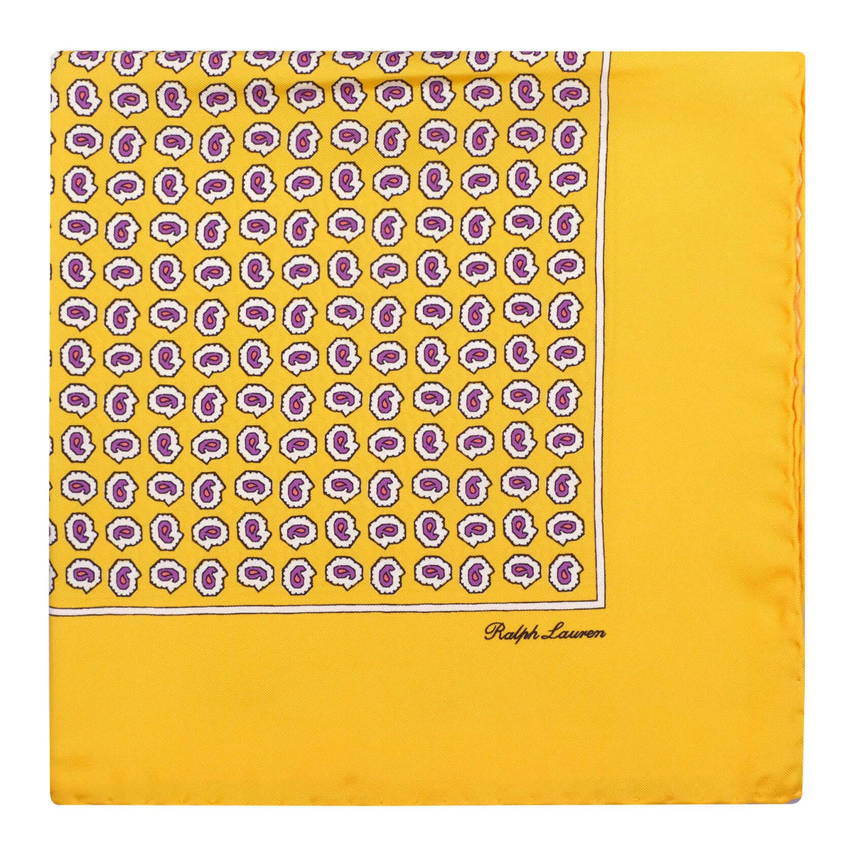 Ralph Lauren Paisley Pattern Foulard Pocket Square - Yellow