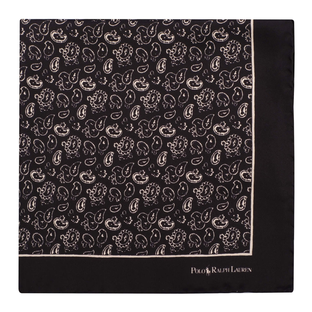 Ralph Lauren Paisley Pattern Foulard Pocket Square - Black