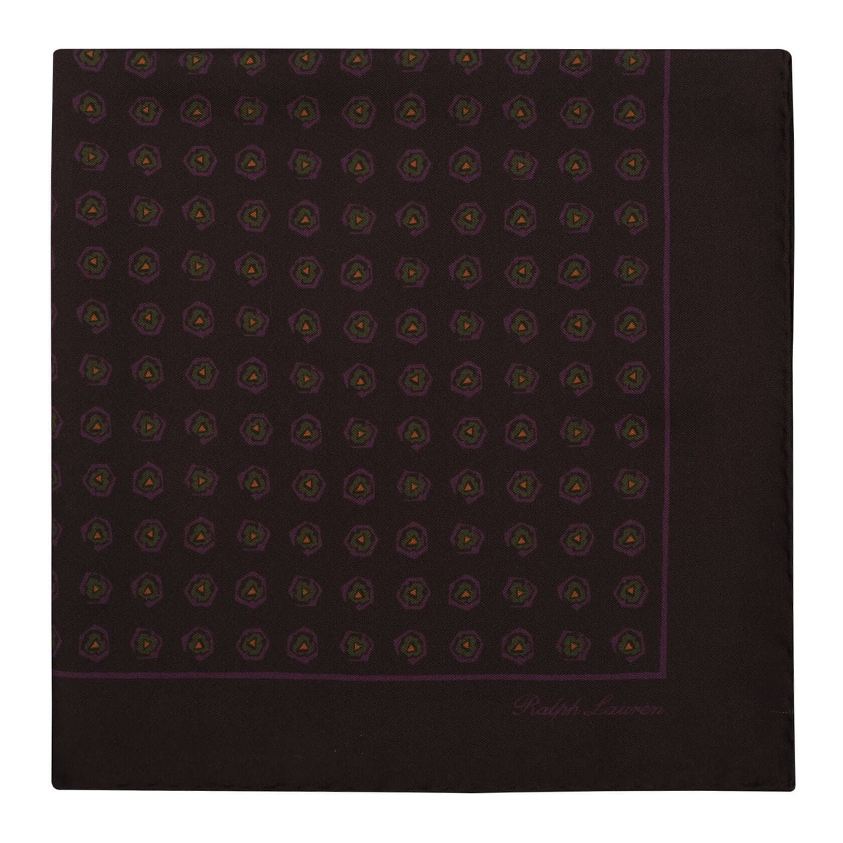 Ralph Lauren Mini Floral Pattern Foulard Pocket Square - Brown