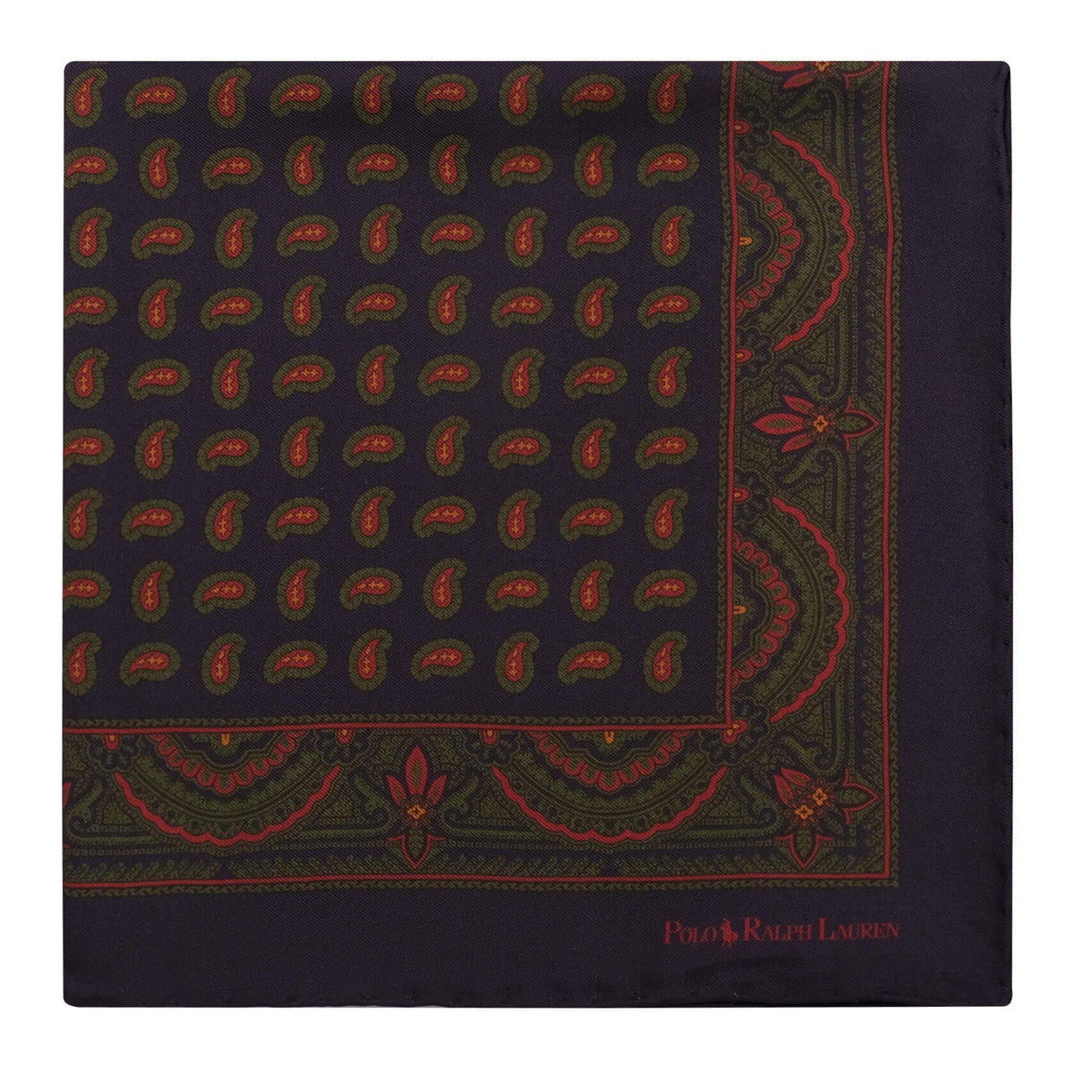 Ralph Lauren Paisley Pattern Foulard Pocket Square - Navy