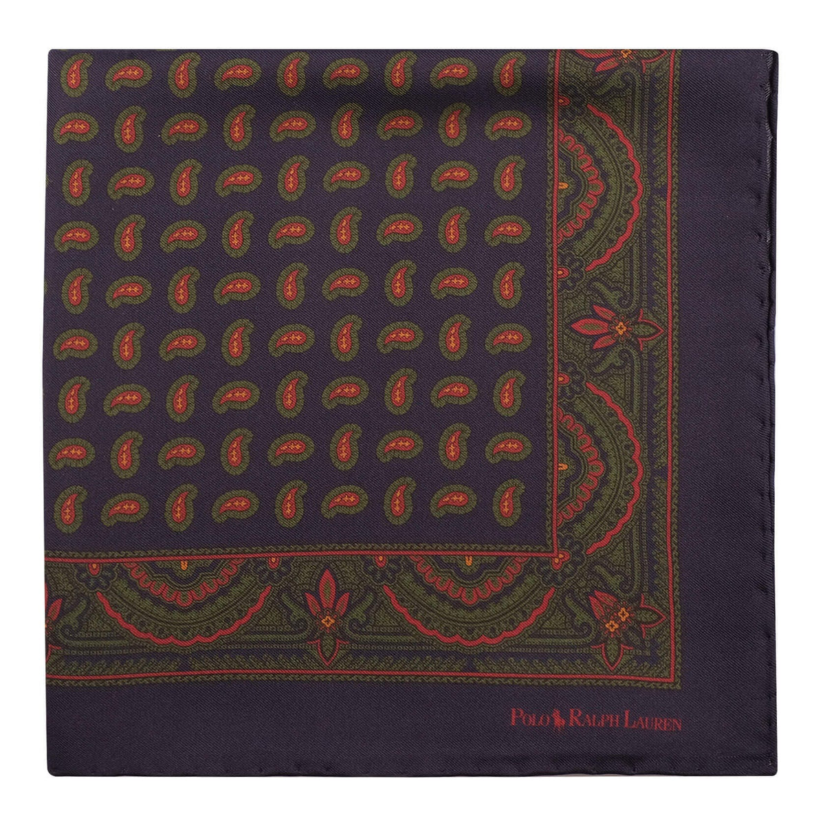 Ralph Lauren Multi Paisley Pattern Foulard Pocket Square - Navy