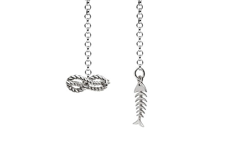 Barbarulo Napoli I Lapel Chain Sterling Silver - Savoy Knot With Fishbone