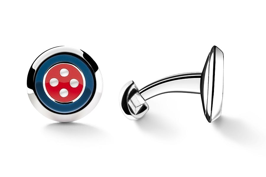 Barbarulo Napoli | ENAMEL BUTTON BLU RED