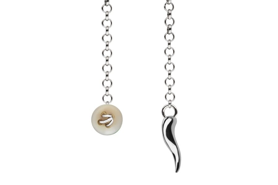 Barbarulo Napoli I Lapel Chain Sterling Silver - Zampa di Gallina Nat with Silver Horn