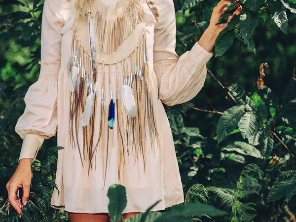Moon Fringe Bib Necklace