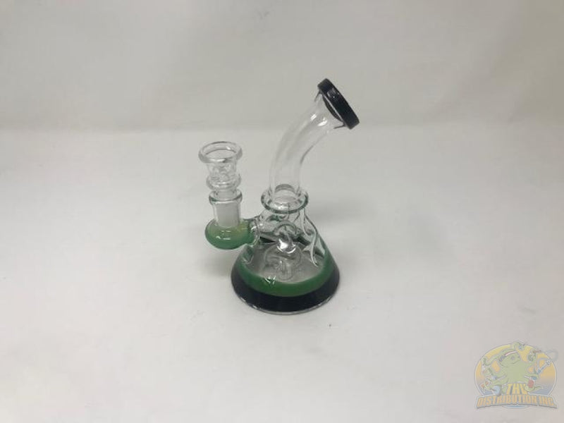 6 Classic Bent-Neck Water Pipe Green & White Glass