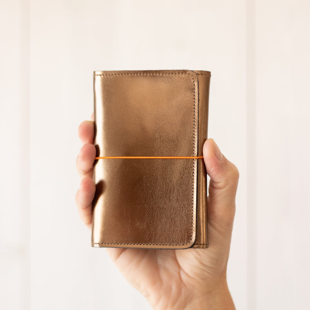 Pocket organizer cuir bronze