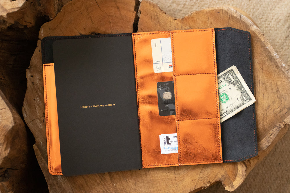 Organizer cuir orange métal