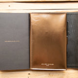 <transcy>Bronze metallic leather portfolio</transcy>