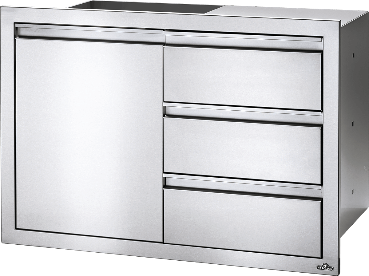 "Napoleon Built-In 36"" X 24"" Single Door & Triple Drawer Combo BI-3624-1D3DR BI-3624-1D3DR"