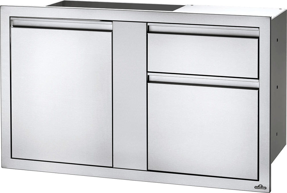 "Napoleon Built-In 42""X 24"" Large Door & Waste Bin Drawer & Paper Towel Holder BI-4224-1D1W BI-4224-1D1W"