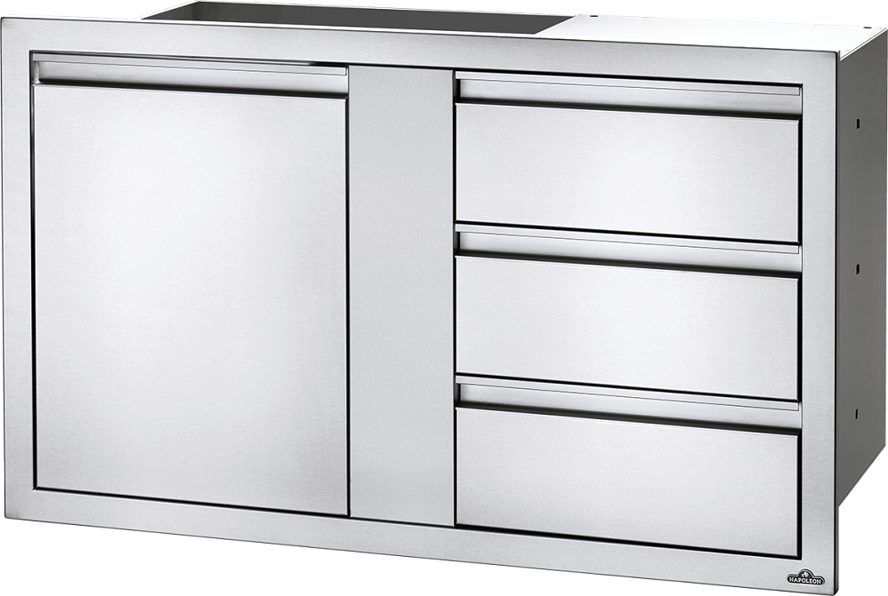 "Napoleon Built-In 42"" X 24"" Large Single Door & Triple Drawer Combo BI-4224-1D3DR BI-4224-1D3DR"