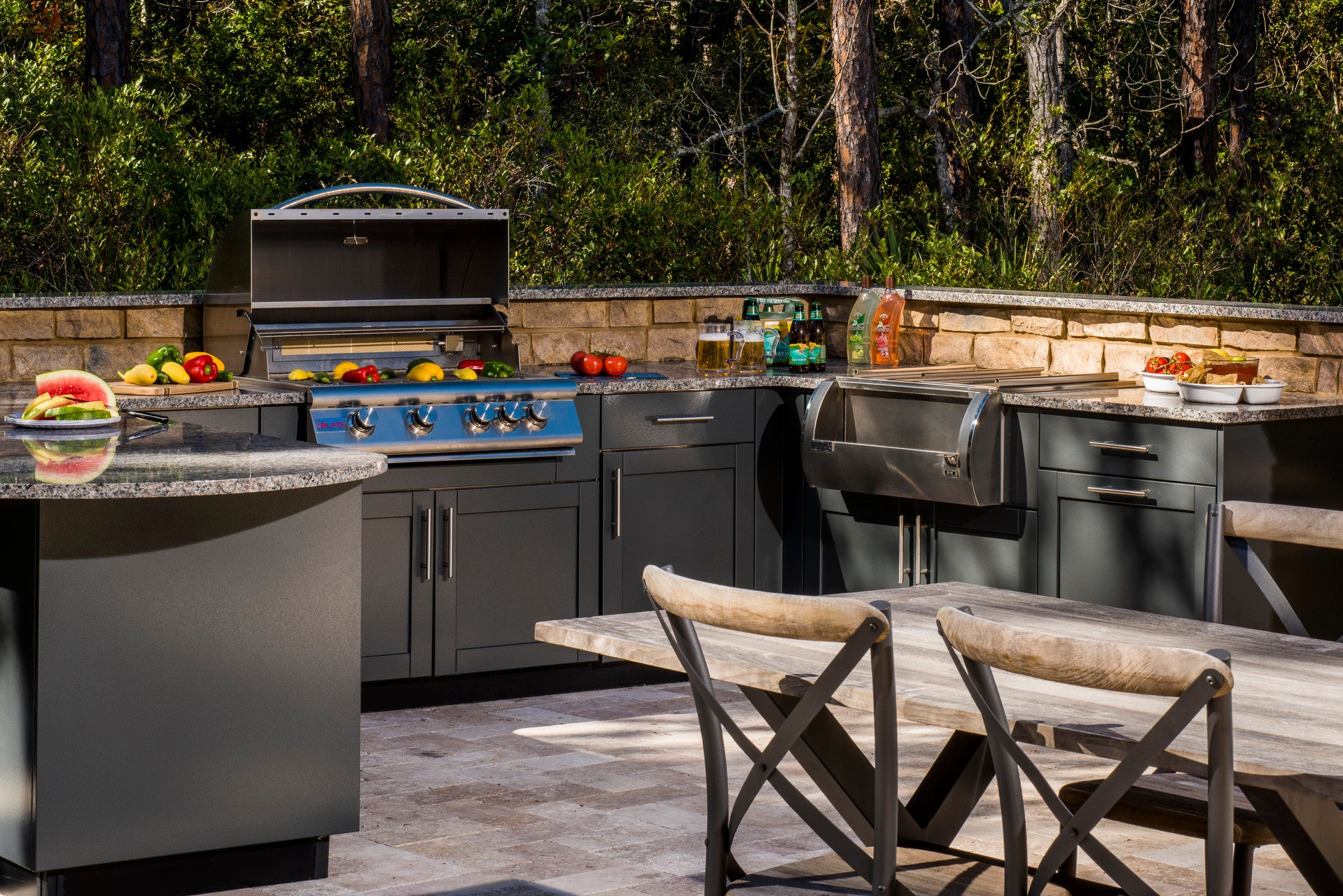 outdoor kitchen 1 with BBQ and beverage center