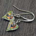 aurora borealis small heart earrings