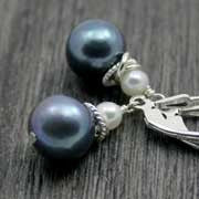 textured black pearl earrings