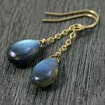 gold fill dangle labradorite earrings